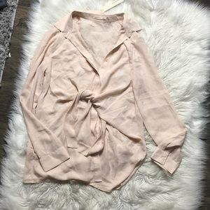NWT MustArd Seed blush chiffon tie front button up